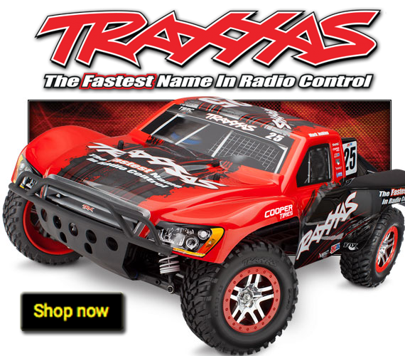 Buy Traxxas Radio Control Cars at PM Hobbycraft. This shows a red remote control vehicle.
